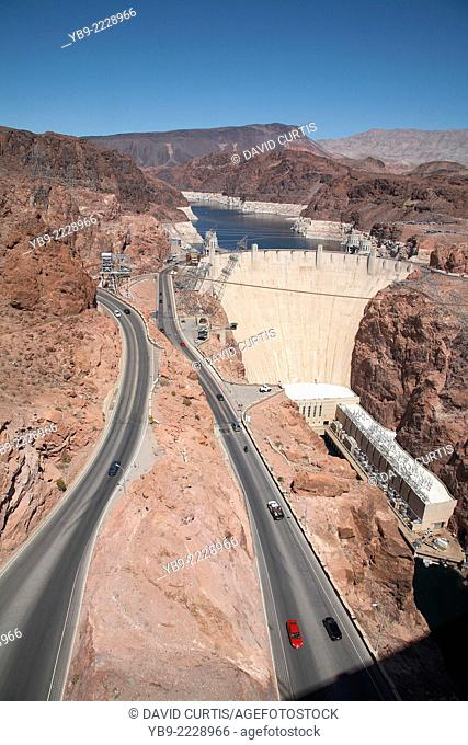 Hoover Dam situated in the Black Canyon of the Colorado River between the Arizona and Nevada border line USA, April 2014