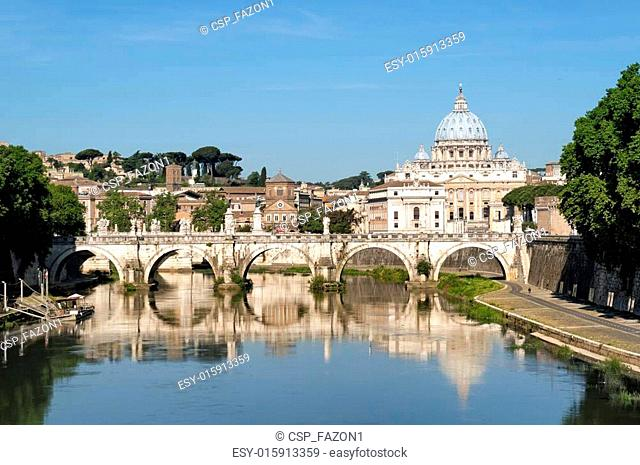 St. Peter's Basilica, Ponte Sant Angelo and Tiber River in Rome - Italy