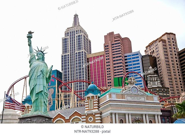 Low angle view of miniature Statue of Liberty in Las Vegas