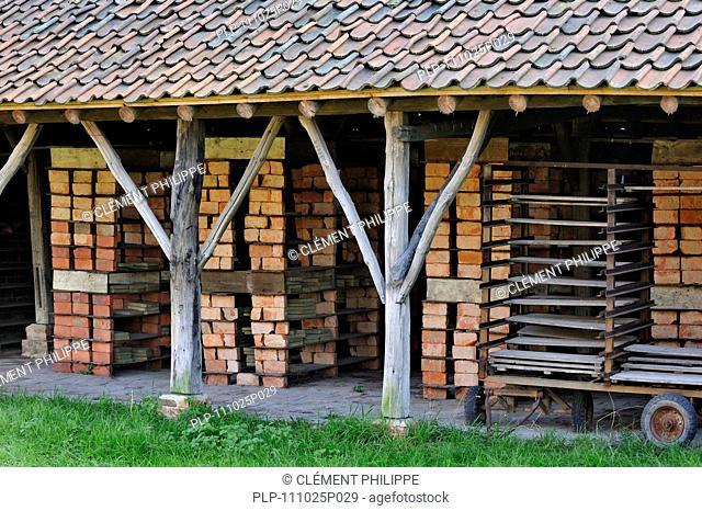 Drying yard with bricks and tiles at brickworks, Boom, Belgium