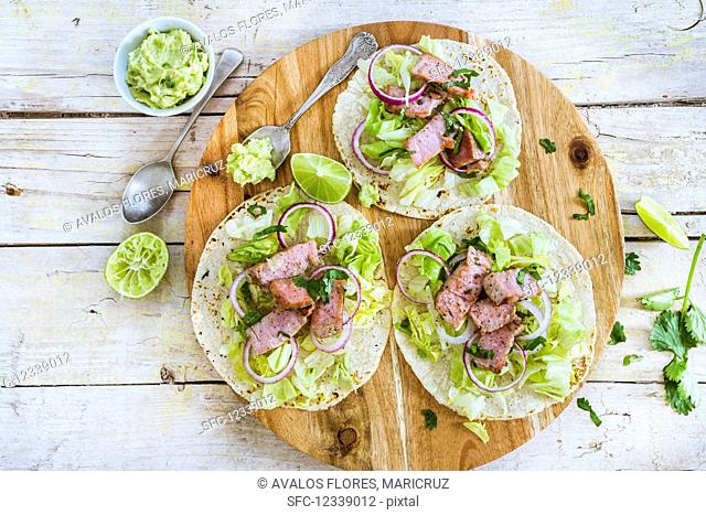 Tacos with swordfish and guacamole (Mexico)
