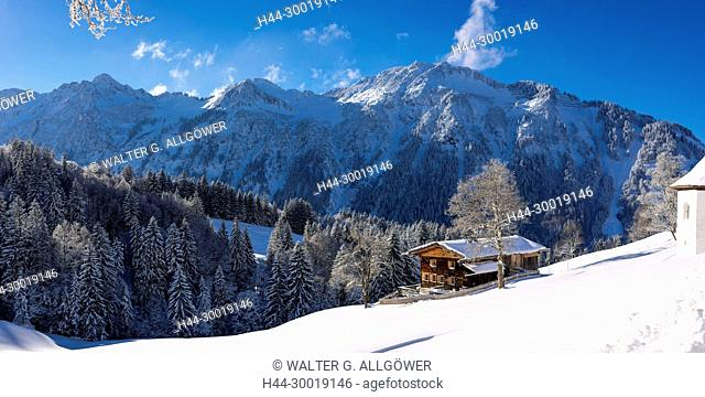 Bavaria, Alps, Chapel, framehouse, wooden house, Europe, Snow, Germany