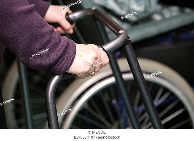 WALKER FOR HANDICAPPED PERSON Photo essay in a nursing home for the elderly in the department of Aisne, France