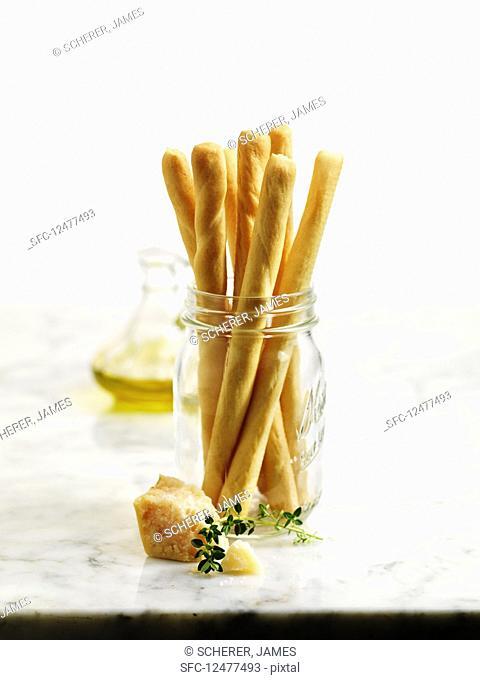 Breadsticks stacked