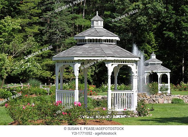 Gazebos in the rose garden at Stanley Park, Westfield, Massachusetts