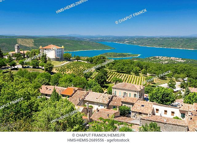 France, Var, Parc Naturel Regional du Verdon (Natural Regional Park of Verdon), Aiguines and its castle in front of Sainte Croix lake