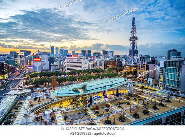 Japan, Nagoya City, Sakae District, Oasis 21 Sapaceship Aqua and Nagoya TV Tower