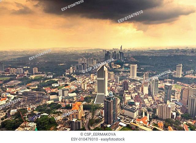 View of Kuala Lumpur from Menara KL observation deck, Malaysia