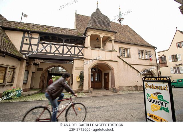 Street scenery in Mittelbergheim, a village of a region in France named Alsace on May 13, 2016. City hall building
