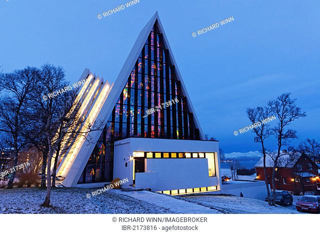 Tromsdalen Church, Arctic Cathedral or Ishavskatredalen, at dusk, Tromsø, Tromso, Norway, Europe