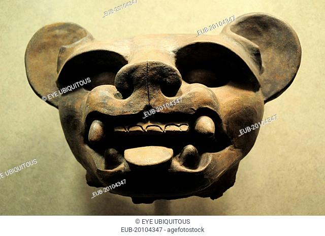 Museo Nacional de Antropologia Vase 200 BC-500 AD in the form of an animal head