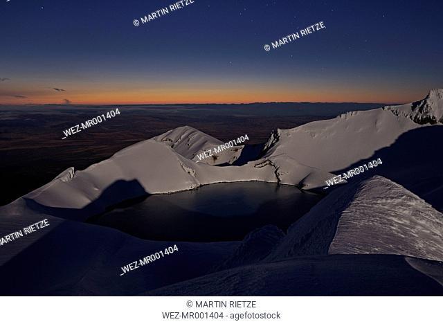 New Zealand, View of Ruapehu volcano at dusk