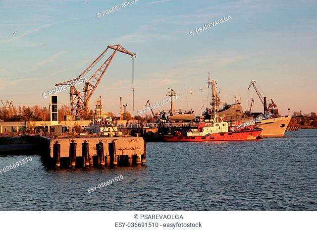 ships and waterfront sunset in Kronstadt