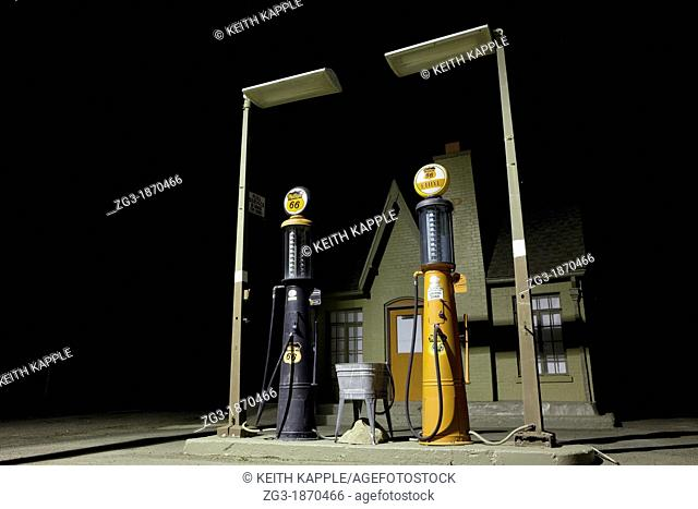 Abandoned Old retro gas station pumps, route 66, west Texas, USA