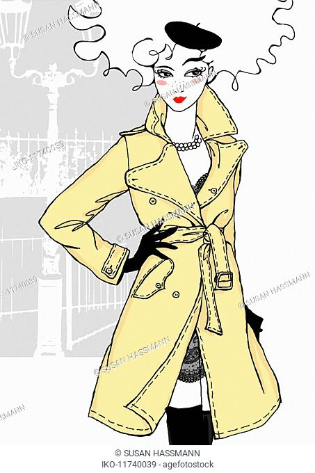 Confident woman wearing trench coat and beret
