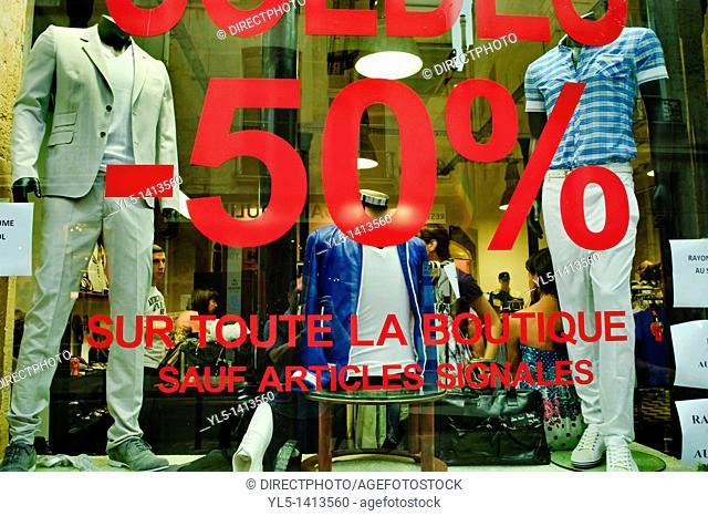 Paris, France, Clothes Shopping, Men's Shop, in the Marais, Rue Vielle-du-Temple  Summer Sales