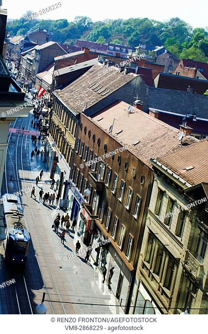 View of Ilica street with tram from a vantage point, Zagreb, Croatia