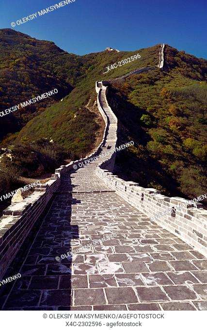 Great Wall of China rising up the mountain. Badaling, Beijing, China