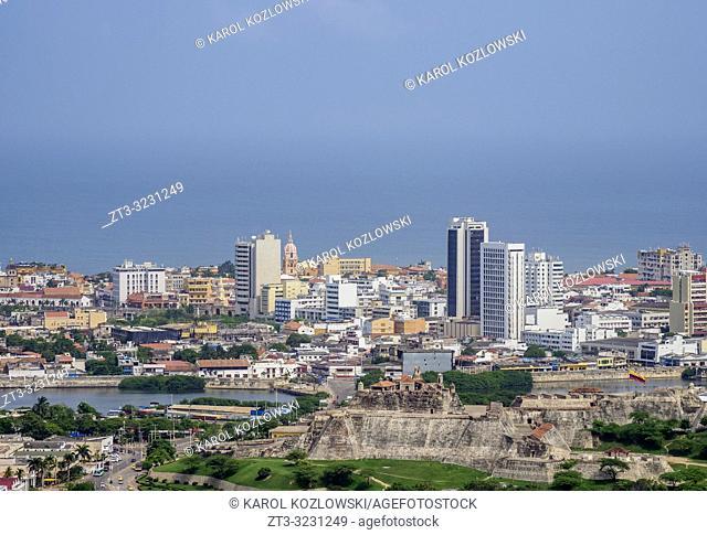 Elevated view towards San Felipe Castle, Cartagena, Bolivar Department, Colombia