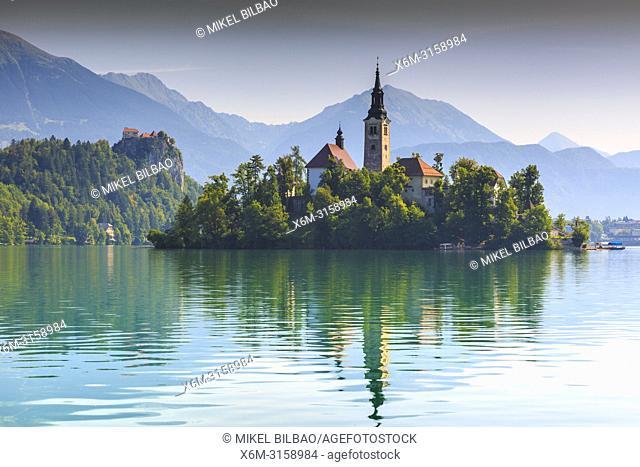 Castle and church. Lake Bled. Julian Alps. Upper Carniola region. Slovenia, Europe