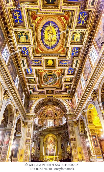 Chiesa San Marcello al Corso Altar Dome Frescoes Basilica Church Rome Italy. Built in 309, rebuilt in 1500s after sack of Rome