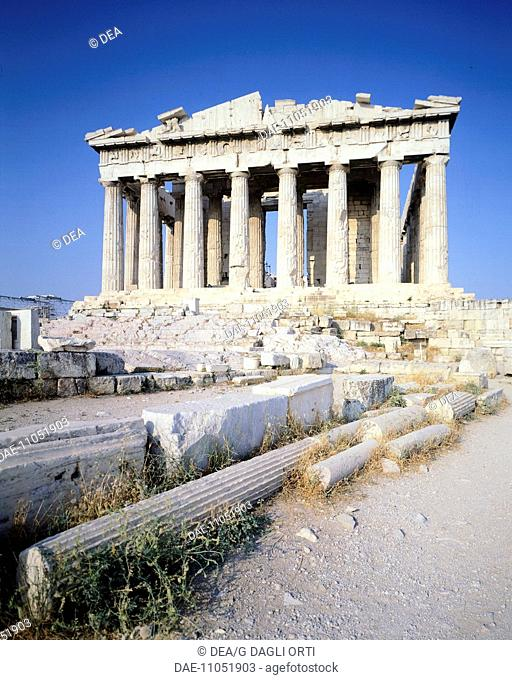 West facade of the Parthenon at the Acropolis in Athens (Greece). Greek Civilization, 5th Century BC
