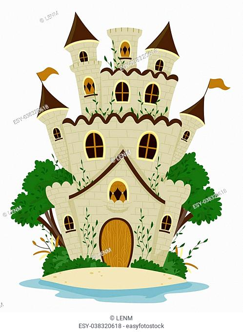 Castle among trees with Clipping Path