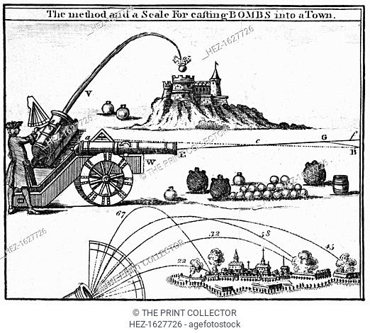'The method and a scale for casting bombs into a town', 1748. A print from the Universal Magazine, 1748