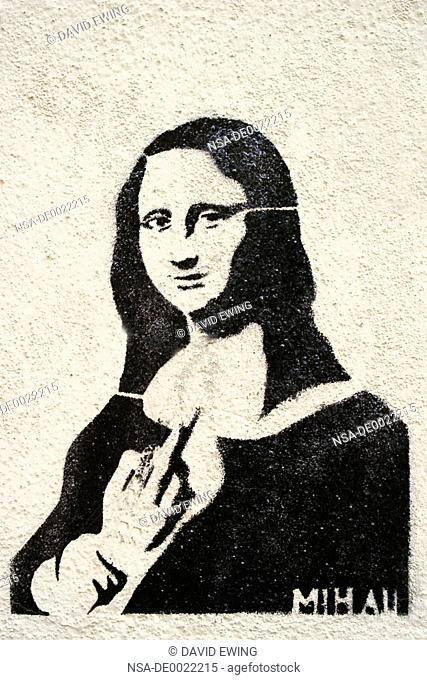 Mona Lisa Says, @!! You, Stencil Graffiti Art