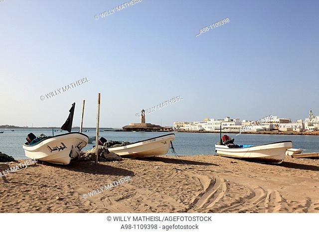 fishing boats at the beach in the village of Sur, Ash Sharqiyah Region, Sultanat of Oman, Asia