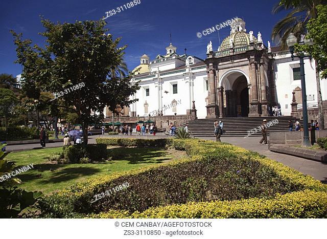 View to the Cathedral-Catedral of Quito at Plaza Grande or Plaza de la Independencia at the historic center, Quito, Ecuador, South America