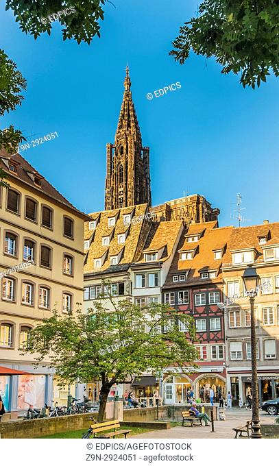 strasbourg cathedral seen from place des tripiers, strasbourg, alsace, Bas-Rhin, France