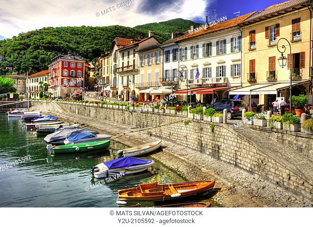 Village cannobio on the lake front with a small port piedmont Italy