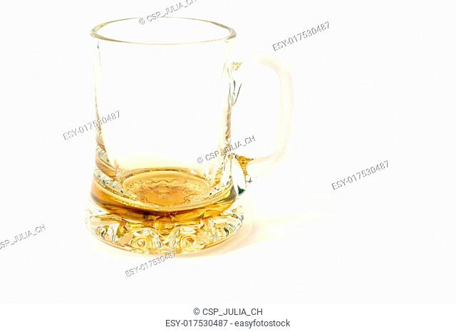 yellow glass mug for beer isolated on white