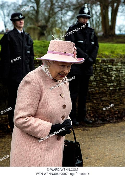 Queen Elizabeth II visits West Newton Church on the Sandringham Estate Featuring: Queen Elizabeth II Where: Kings Lynn, United Kingdom When: 01 Feb 2015 Credit:...