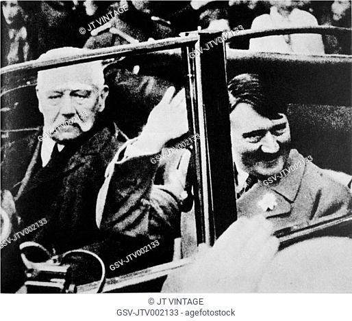 President Paul von Hindenburg and Chancellor Adolf Hitler in Car, Germany, 1933