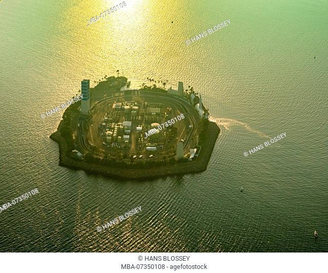 Oil Island Off Long Beach, White Island, THUMS T-3 Island White, Long Beach, Los Angeles County, California, USA