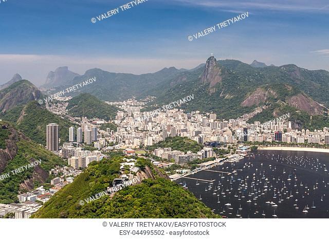 Rio de Janeiro, Brazil - December 21, 2012: Aerial view of Rio de Janeiro from the Sugarloaf Mountain
