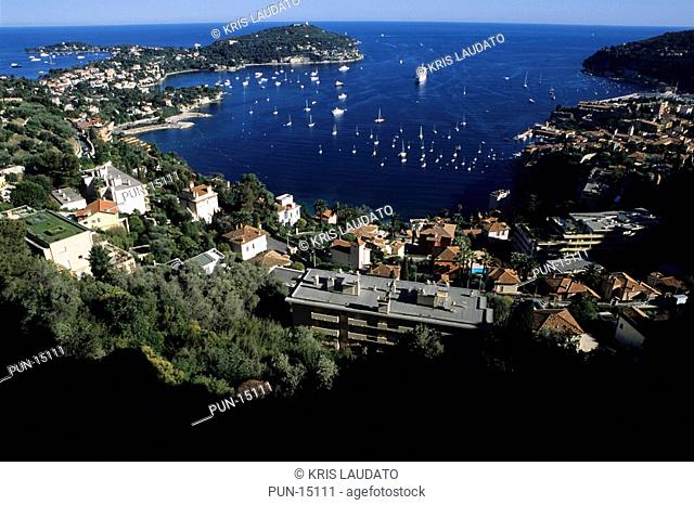 View of the bay of Villefranche on the right and Cap Ferrat on the left, France