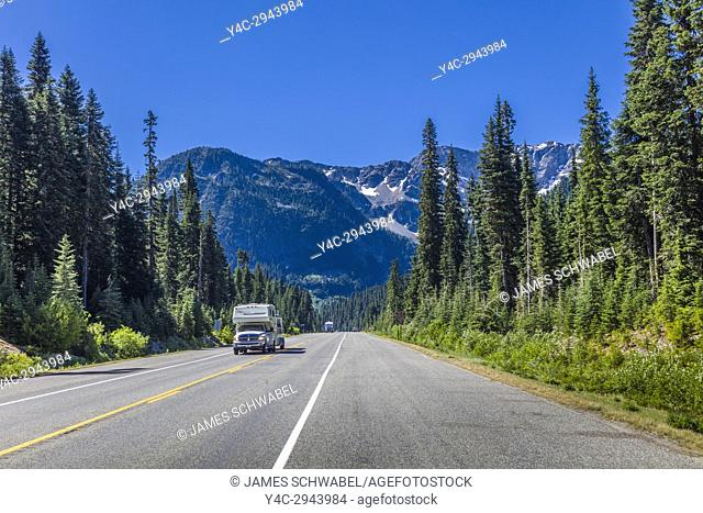 North Cascades Highway 20 in North Cascases National Park in Northern Washington State in the United States