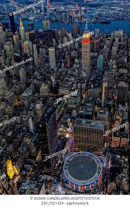NYC Red White and Blue - Aerial view of the Empire State Building (ESB) and Madison Square Garden (MSG) lit up in red white and blue in commemoration of the...