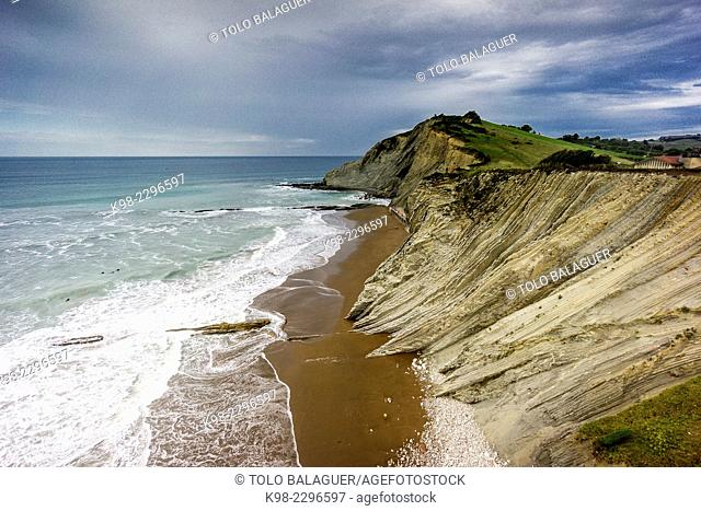 Itzurun Beach, Zumaia, Guipuzcoa, Basque Country, Spain