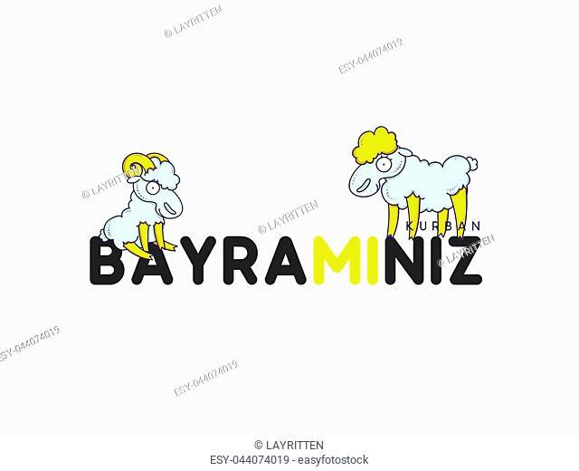 Greeting card design with cute amusing Sheep for Muslim culture. Festival of Sacrifice, Eid-Al-Adha Mubarak