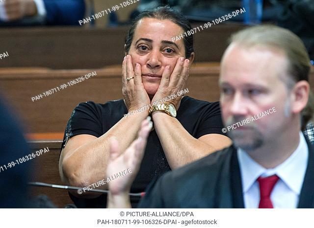 11 July 2018, Munich, Germany: Elif Kubasik, wife of National Socialist Underground victim Mehmet Kubasik, sits in the Higher Regional Court