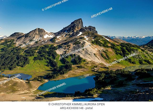 Black Tusk Mountain and Black Tusk Lake, Helm Lakes, and Helm Meadows as seen from Panorama Ridge in Garibaldi Provincial Park, British Columbia, Canada