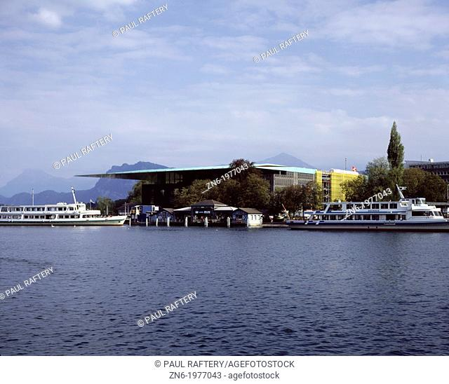 CULTURAL CENTRE, LUCERNE, SWITZERLAND, JEAN NOUVEL, EXTERIOR, VIEW FROM ACROSS LAKE