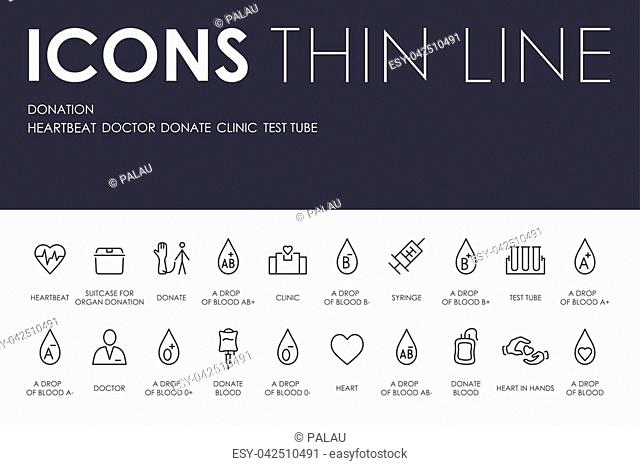 Set of DONATION Thin Line Vector Icons and Pictograms