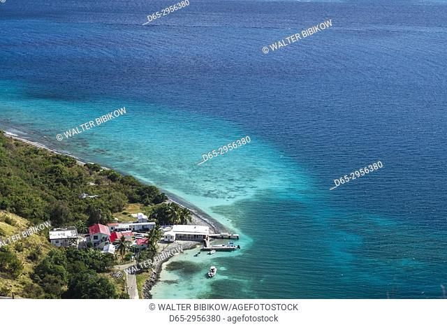British Virgin Islands, Jost Van Dyke, Long Bay, elevated view from Roach Hill
