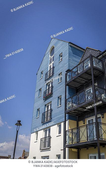 Littlehampton Harbour buildings along the River Arun, Littlehampton, West Sussex, England, UK
