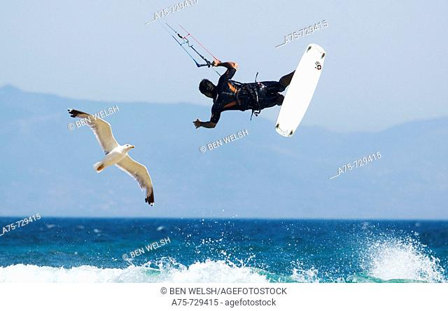 Kiteboarding, Valdevaqueros, Punta Paloma, Tarifa, Cadiz province, Andalusia, Spain, summer 2008